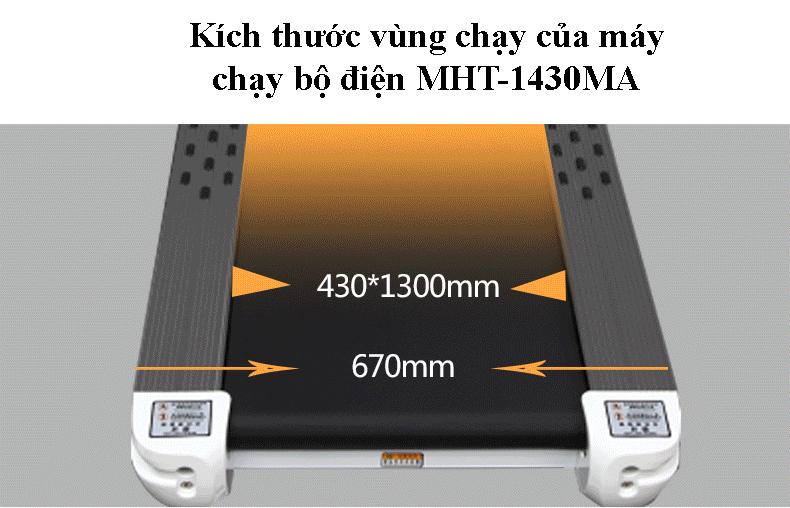 Kích thước vùng chạy máy chạy bộ điện MHT-1430MA