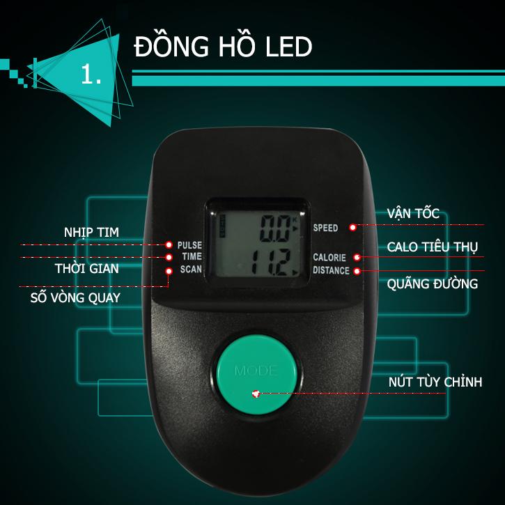 Đồng hồ hiển thị trên xe đạp tập thể dục MO-2060