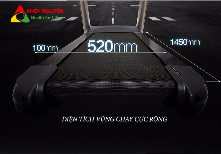 Kích thước vùng chạy trên máy tập chạy bộ MCT-5517A
