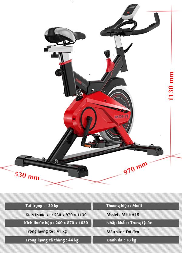 Thông số xe đạp tập thể dục Mofit MHS-615