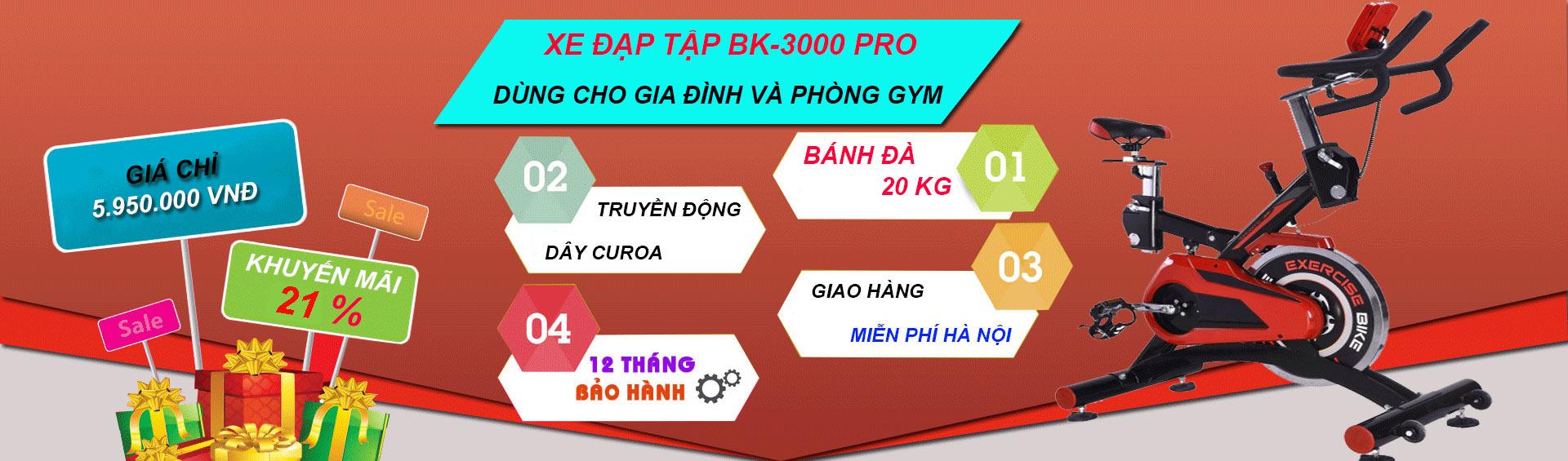 Khuyến mãi xe đạp tập thể dục bk-3000 pro
