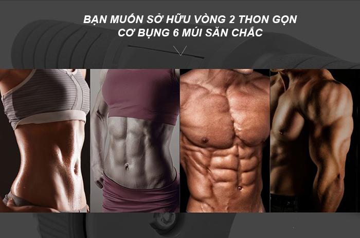 Tập cơ bụng 6 múi với con lăn tập bụng Gym Roller