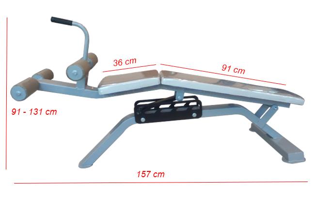 Kích thước ghế tập lưng bụng KNG-05