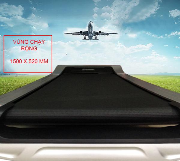 Kích thước vùng chạy máy tập chạy bộ TR-7200