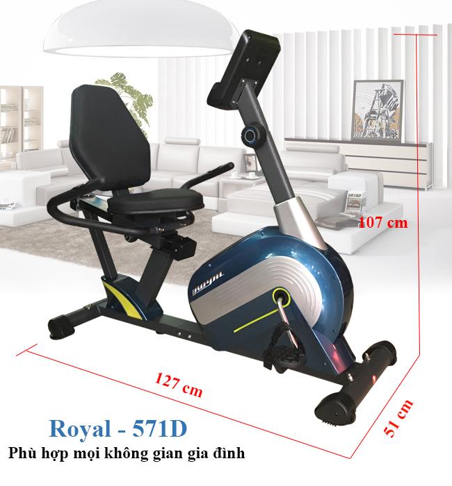 Kích thước xe đạp tập thể dục Royal 571D