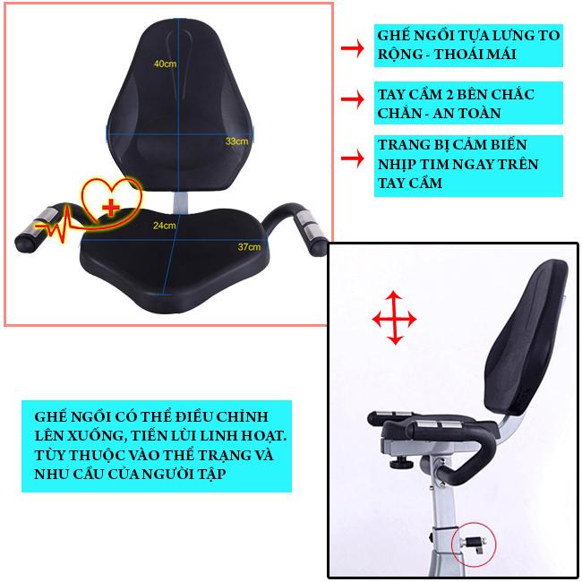 Ghế ngồi xe đạp tập có tựa lưng K8602R