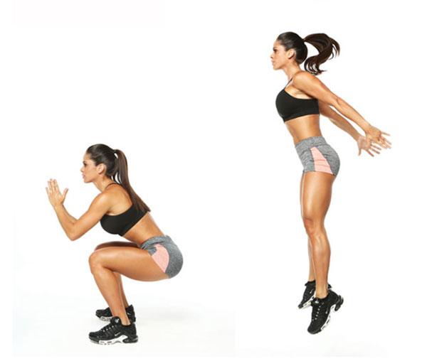 Jump Squat bài tập Gym tại nhà cho nữ không cần dụng cụ