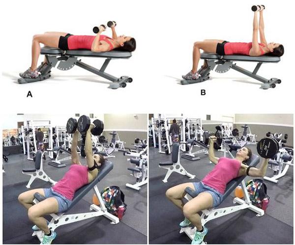 Bài tập cơ ngực trên ghế tạ cho nữ