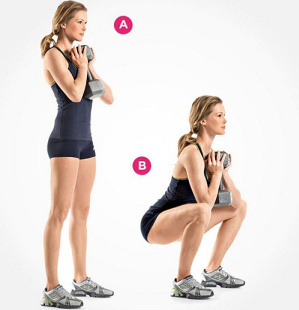 Squat tập cơ chân cho nữ