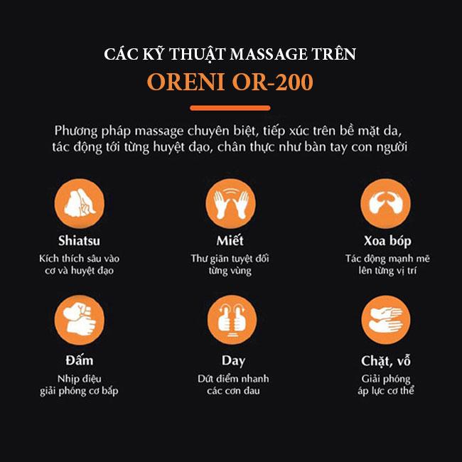 Các kỹ thuật massage chuyên nghiệp trên ghế Oreni OR-200