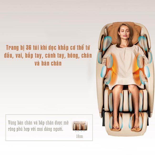 Hệ thống túi khí trên ghế massage Or-180