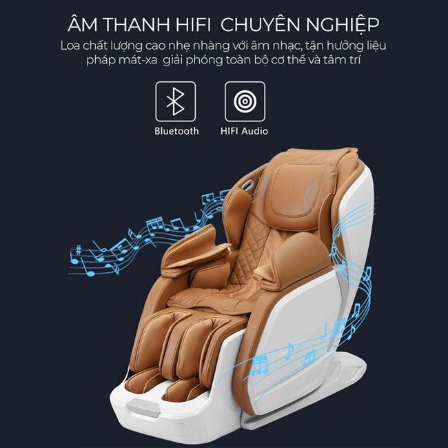 Hệ thống âm thanh chất lượng cao trên ghế massage nhập khẩu Oreni OR-200